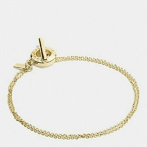 Coach Gold Signature Open Ring Chain Brace…